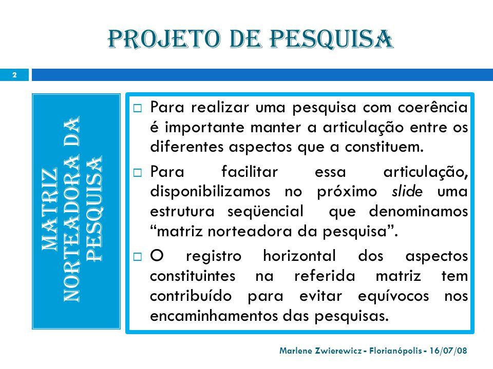 MATRIZ NORTEADORA da pesquisa