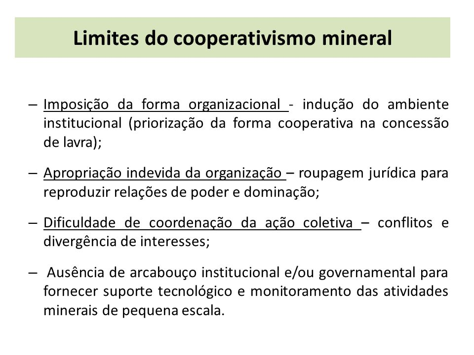 Limites do cooperativismo mineral
