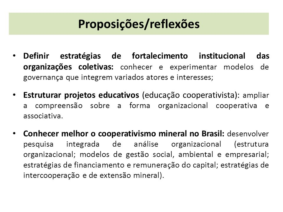 Proposições/reflexões