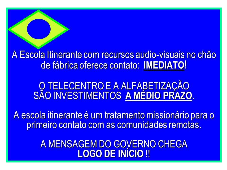 A Escola Itinerante com recursos audio-visuais no chão de fábrica oferece contato: IMEDIATO.