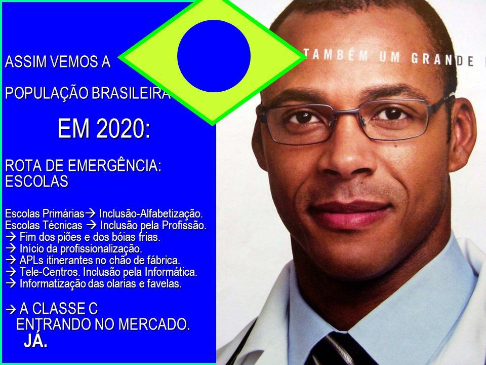 ASSIM VEMOS A POPULAÇÃO BRASILEIRA EM 2020: ROTA DE EMERGÊNCIA: ESCOLAS Escolas Primárias Inclusão-Alfabetização.