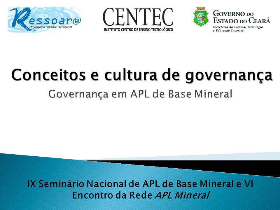 Conceitos e cultura de governança Governança em APL de Base Mineral