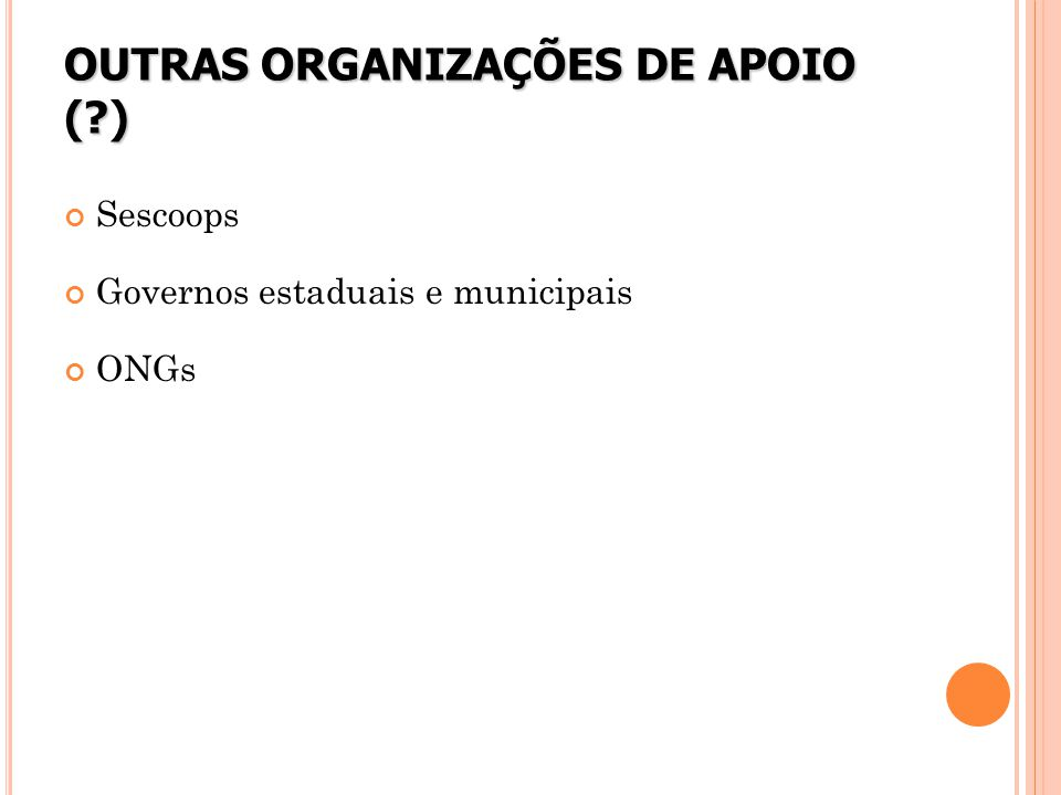 OUTRAS ORGANIZAÇÕES DE APOIO ( )