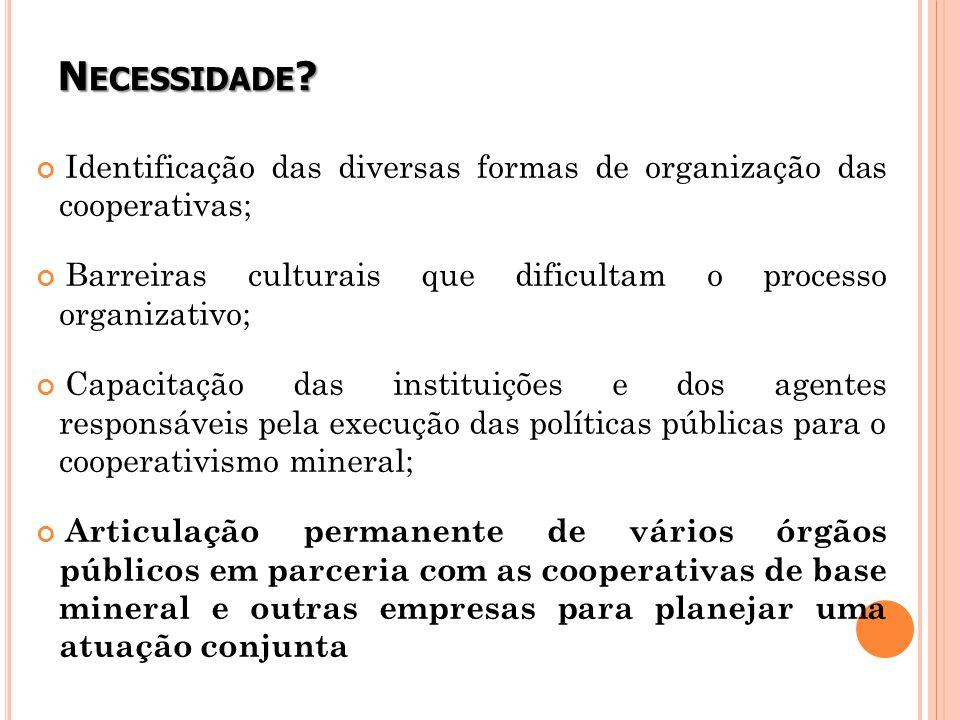 Necessidade Identificação das diversas formas de organização das cooperativas; Barreiras culturais que dificultam o processo organizativo;