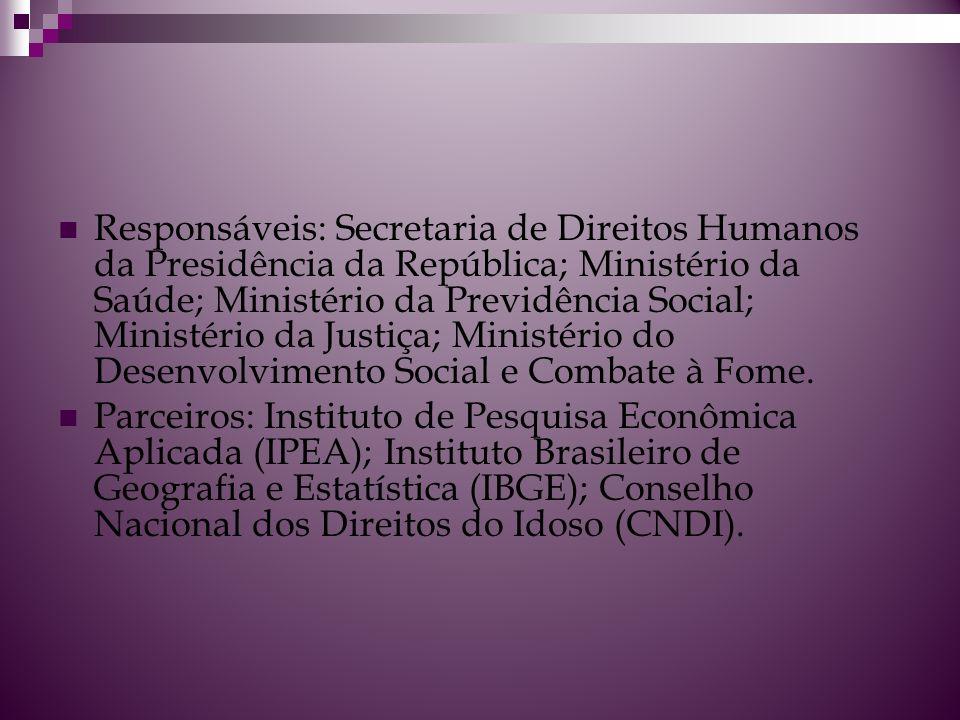 Responsáveis: Secretaria de Direitos Humanos da Presidência da República; Ministério da Saúde; Ministério da Previdência Social; Ministério da Justiça; Ministério do Desenvolvimento Social e Combate à Fome.