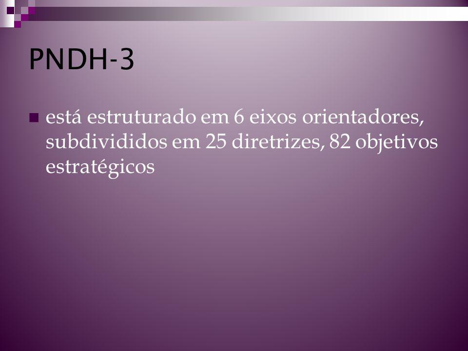 PNDH-3 está estruturado em 6 eixos orientadores, subdivididos em 25 diretrizes, 82 objetivos estratégicos.