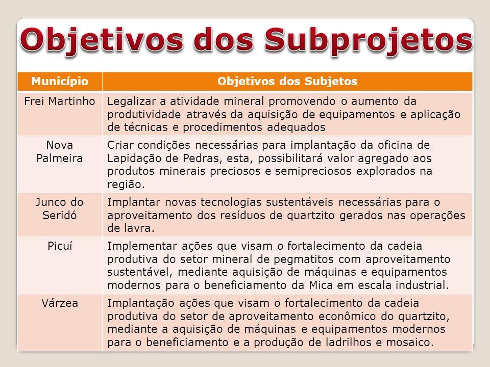 Objetivos dos Subprojetos Objetivos dos Subjetos