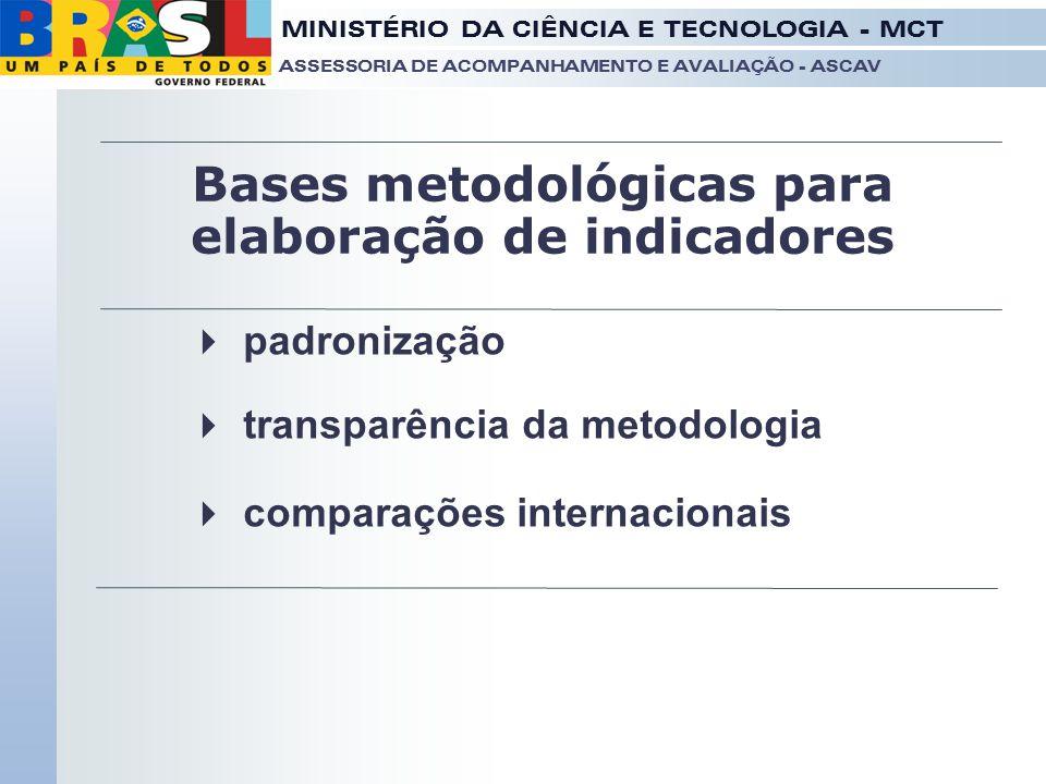 Bases metodológicas para elaboração de indicadores