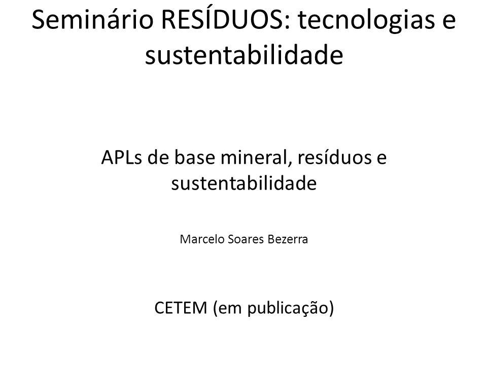 Seminário RESÍDUOS: tecnologias e sustentabilidade APLs de base mineral, resíduos e sustentabilidade Marcelo Soares Bezerra CETEM (em publicação)