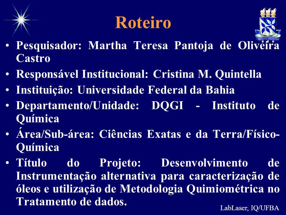 Roteiro Pesquisador: Martha Teresa Pantoja de Oliveira Castro