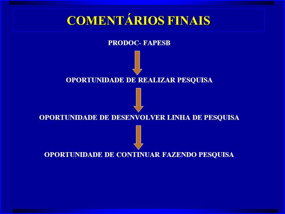 COMENTÁRIOS FINAIS PRODOC- FAPESB OPORTUNIDADE DE REALIZAR PESQUISA