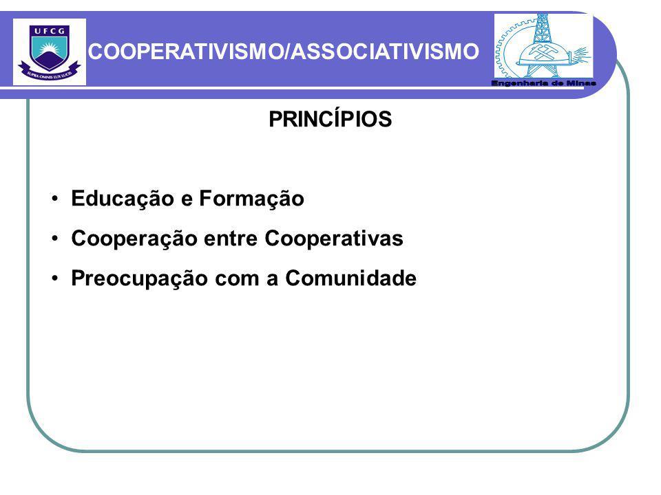 Engenharia de Minas COOPERATIVISMO/ASSOCIATIVISMO PRINCÍPIOS