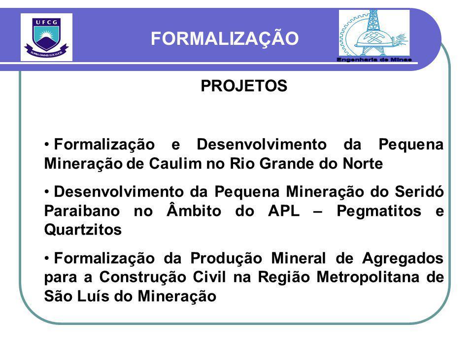 Engenharia de Minas FORMALIZAÇÃO PROJETOS