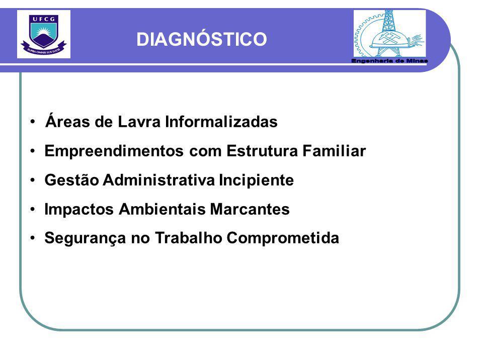 Engenharia de Minas DIAGNÓSTICO Áreas de Lavra Informalizadas