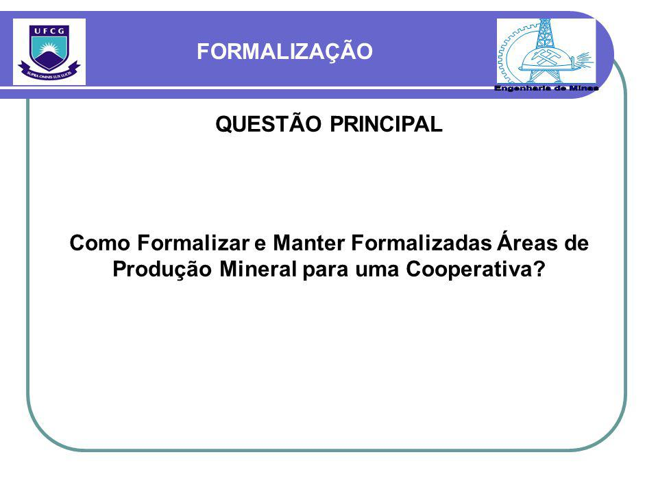 Engenharia de Minas FORMALIZAÇÃO QUESTÃO PRINCIPAL