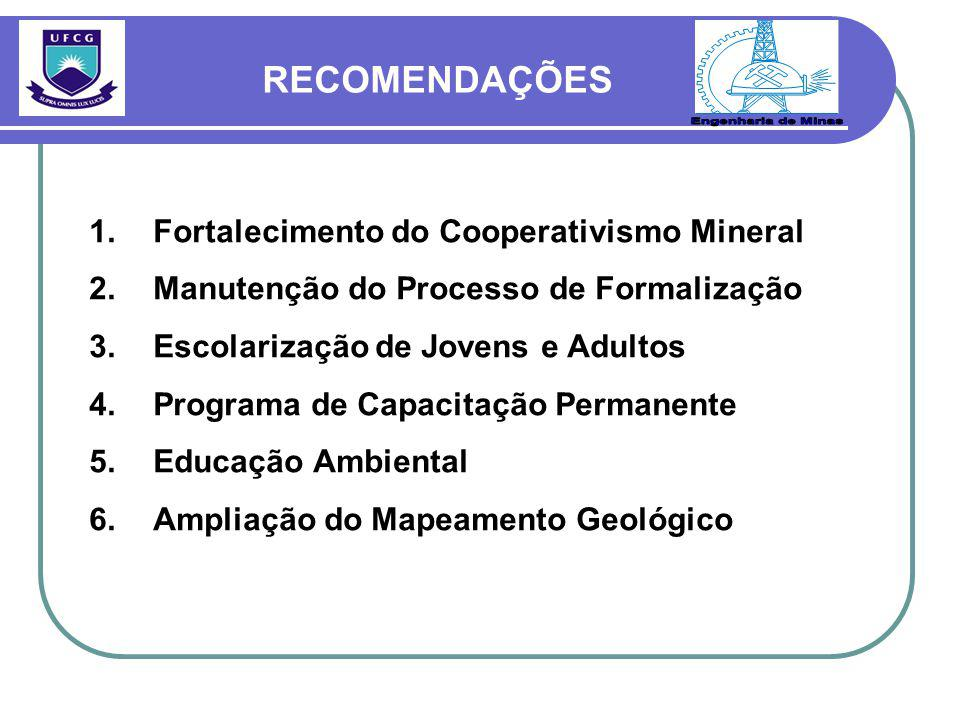 RECOMENDAÇÕES Engenharia de Minas