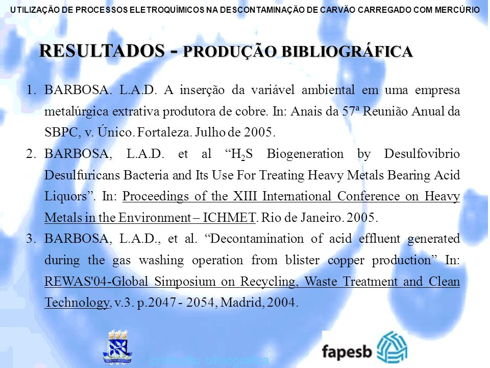 RESULTADOS - PRODUÇÃO BIBLIOGRÁFICA