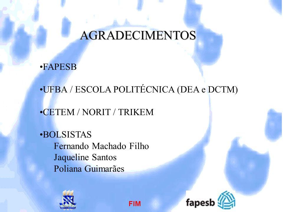 AGRADECIMENTOS FAPESB UFBA / ESCOLA POLITÉCNICA (DEA e DCTM)