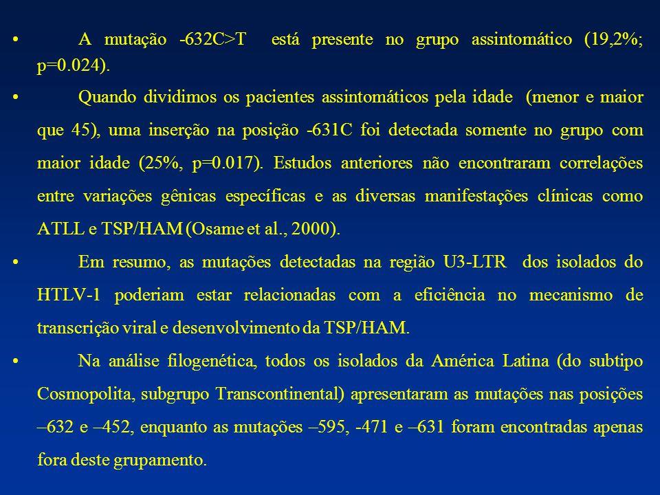 A mutação -632C>T está presente no grupo assintomático (19,2%; p=0