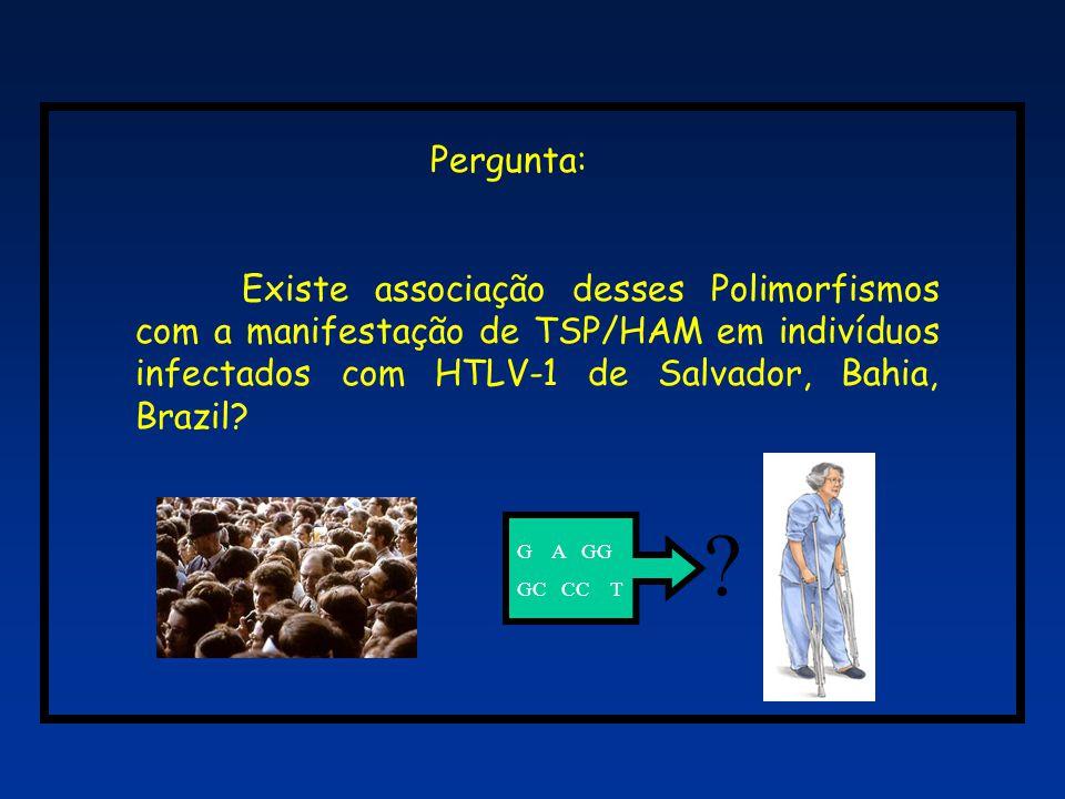 Pergunta: Existe associação desses Polimorfismos com a manifestação de TSP/HAM em indivíduos infectados com HTLV-1 de Salvador, Bahia, Brazil