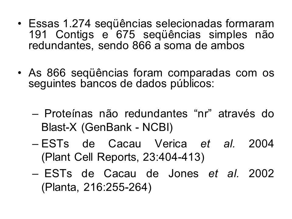 Essas 1.274 seqüências selecionadas formaram 191 Contigs e 675 seqüências simples não redundantes, sendo 866 a soma de ambos