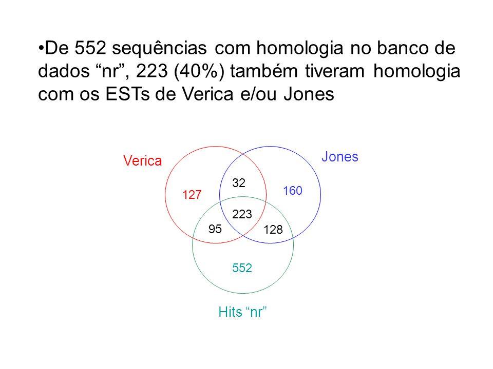 De 552 sequências com homologia no banco de dados nr , 223 (40%) também tiveram homologia com os ESTs de Verica e/ou Jones