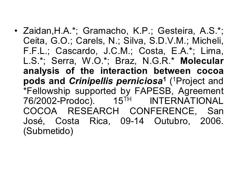 Zaidan,H. A. ; Gramacho, K. P. ; Gesteira, A. S. ; Ceita, G. O