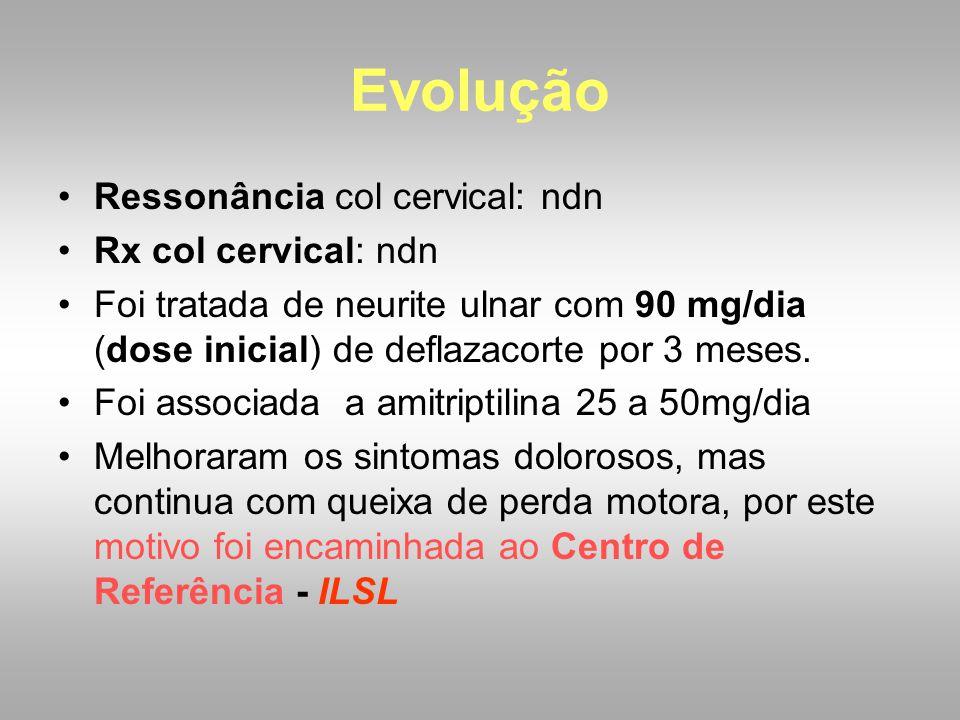 Evolução Ressonância col cervical: ndn Rx col cervical: ndn
