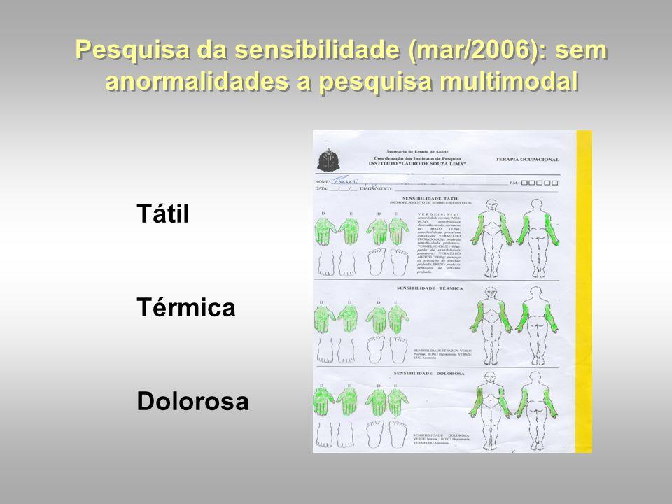 Pesquisa da sensibilidade (mar/2006): sem anormalidades a pesquisa multimodal