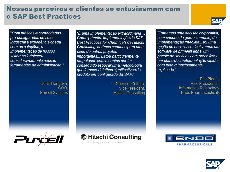 Nossos parceiros e clientes se entusiasmam com o SAP Best Practices