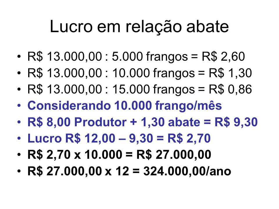 Lucro em relação abate R$ 13.000,00 : 5.000 frangos = R$ 2,60