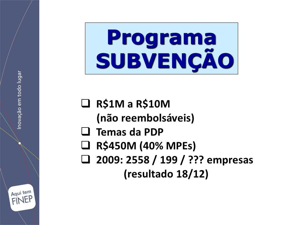 Programa SUBVENÇÃO R$1M a R$10M (não reembolsáveis) Temas da PDP