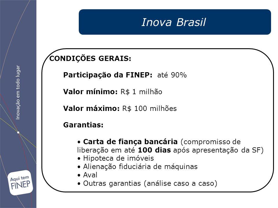 Inova Brasil CONDIÇÕES GERAIS: Participação da FINEP: até 90%