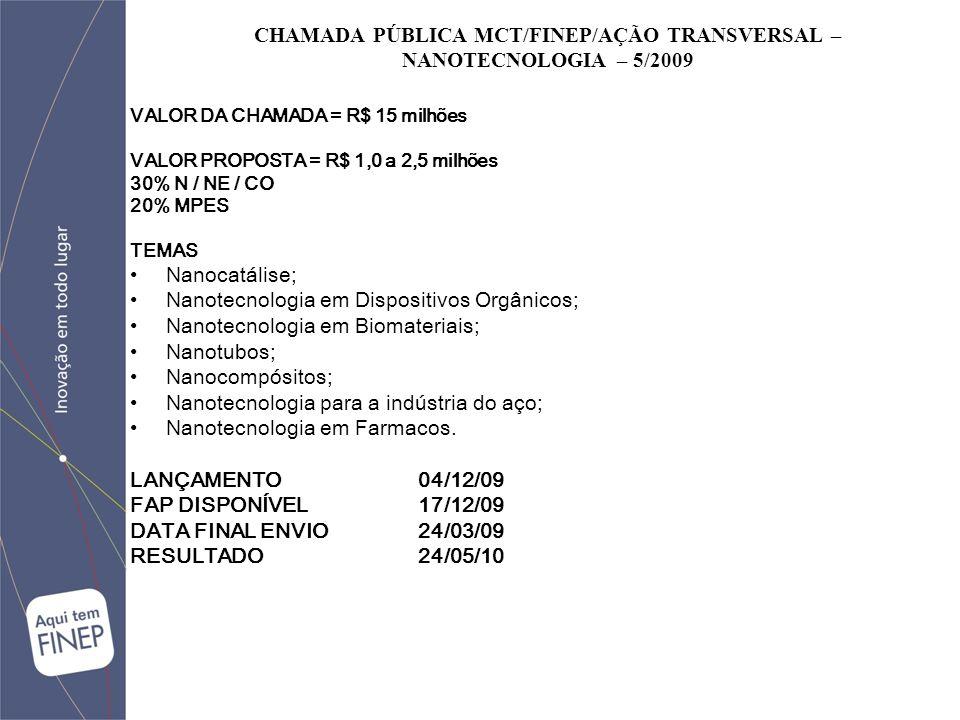 CHAMADA PÚBLICA MCT/FINEP/AÇÃO TRANSVERSAL – NANOTECNOLOGIA – 5/2009