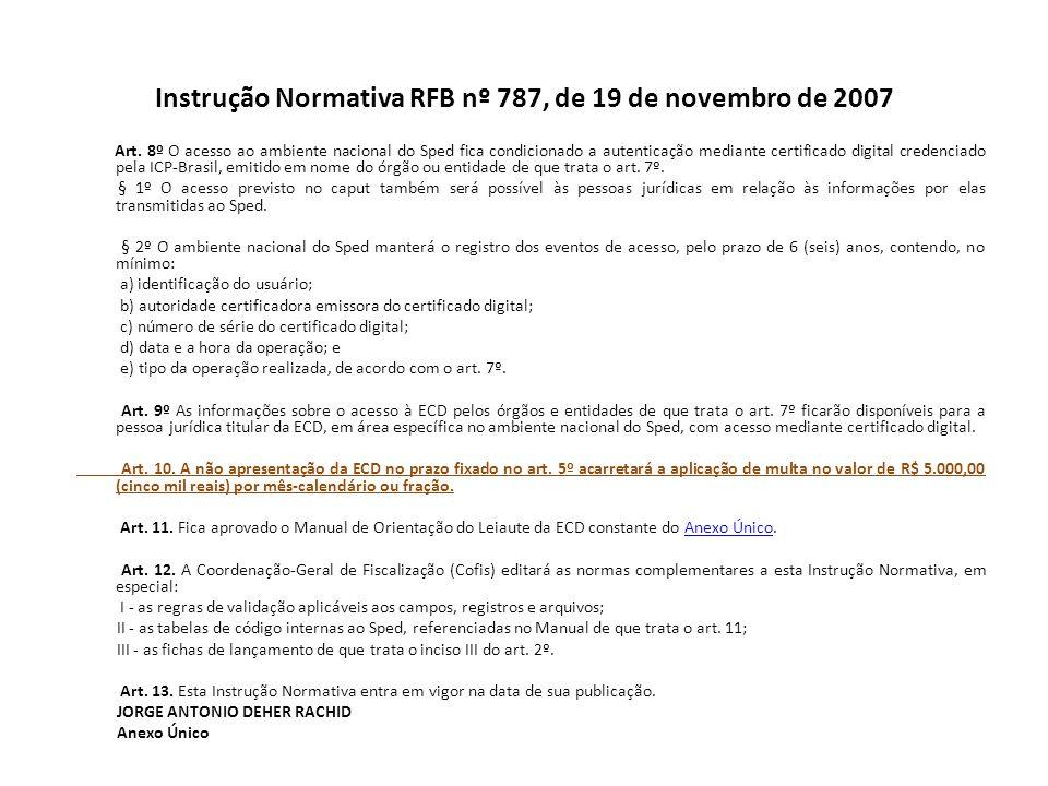 Instrução Normativa RFB nº 787, de 19 de novembro de 2007