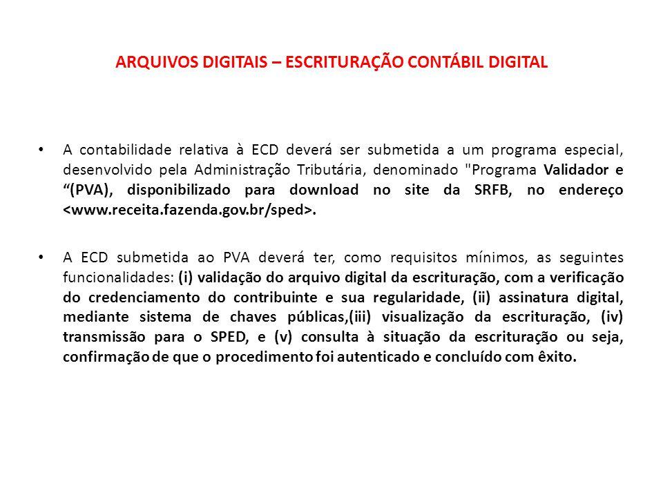 ARQUIVOS DIGITAIS – ESCRITURAÇÃO CONTÁBIL DIGITAL