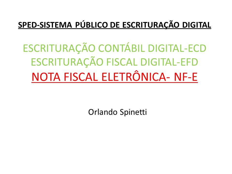 SPED-SISTEMA PÚBLICO DE ESCRITURAÇÃO DIGITAL ESCRITURAÇÃO CONTÁBIL DIGITAL-ECD ESCRITURAÇÃO FISCAL DIGITAL-EFD NOTA FISCAL ELETRÔNICA- NF-E