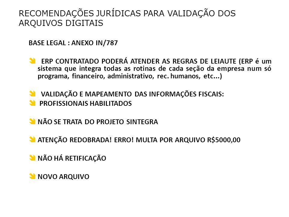 RECOMENDAÇÕES JURÍDICAS PARA VALIDAÇÃO DOS ARQUIVOS DIGITAIS