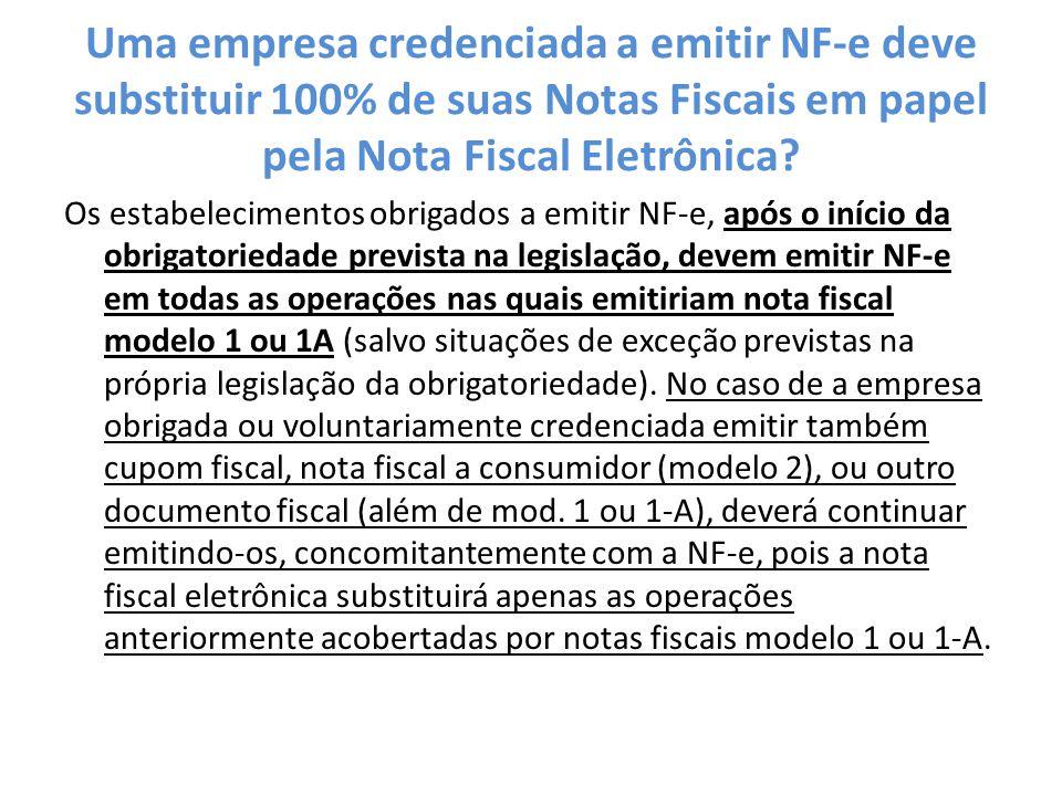 Uma empresa credenciada a emitir NF-e deve substituir 100% de suas Notas Fiscais em papel pela Nota Fiscal Eletrônica