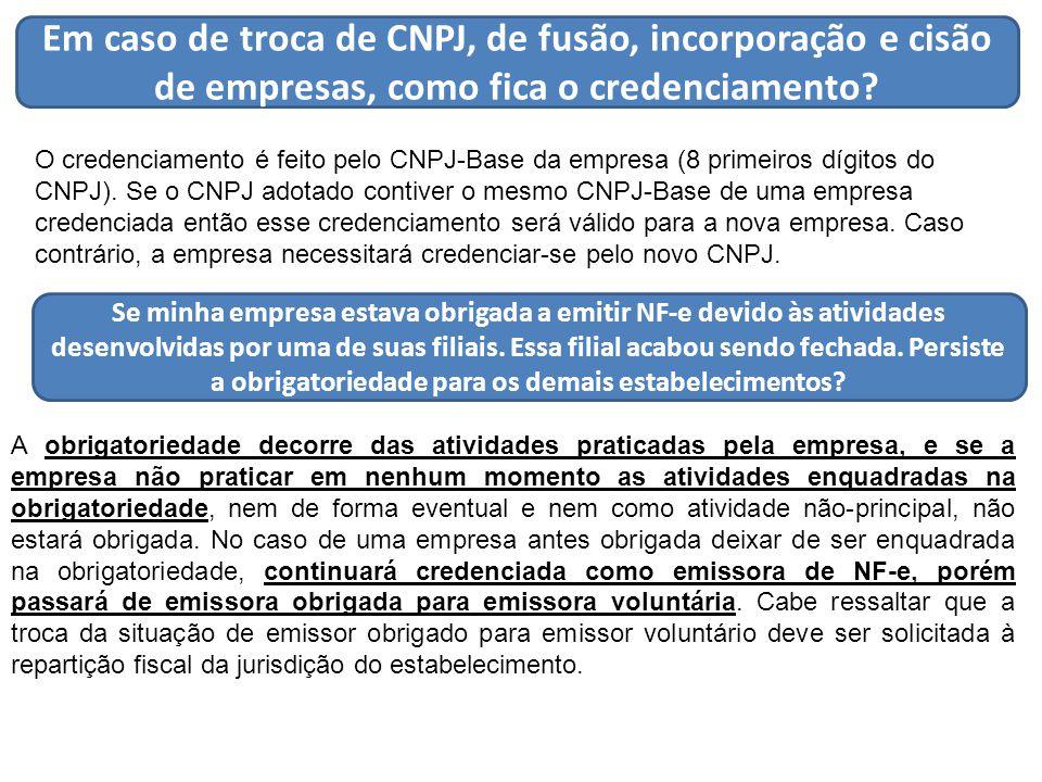 Em caso de troca de CNPJ, de fusão, incorporação e cisão de empresas, como fica o credenciamento