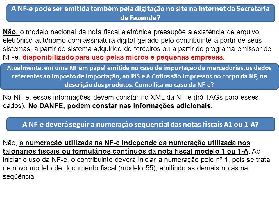 A NF-e pode ser emitida também pela digitação no site na Internet da Secretaria da Fazenda