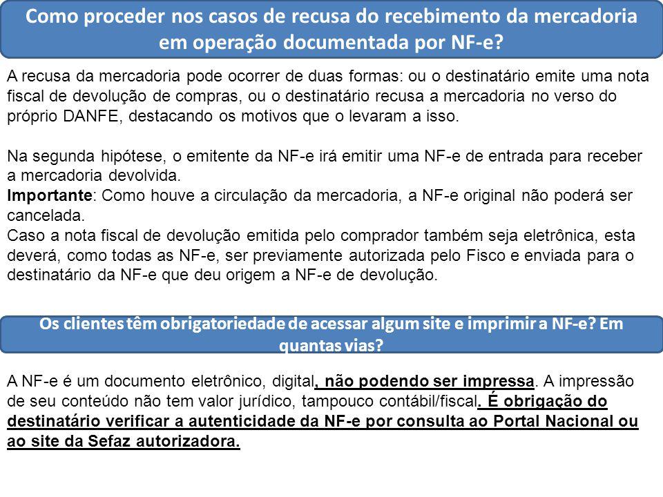 Como proceder nos casos de recusa do recebimento da mercadoria em operação documentada por NF-e