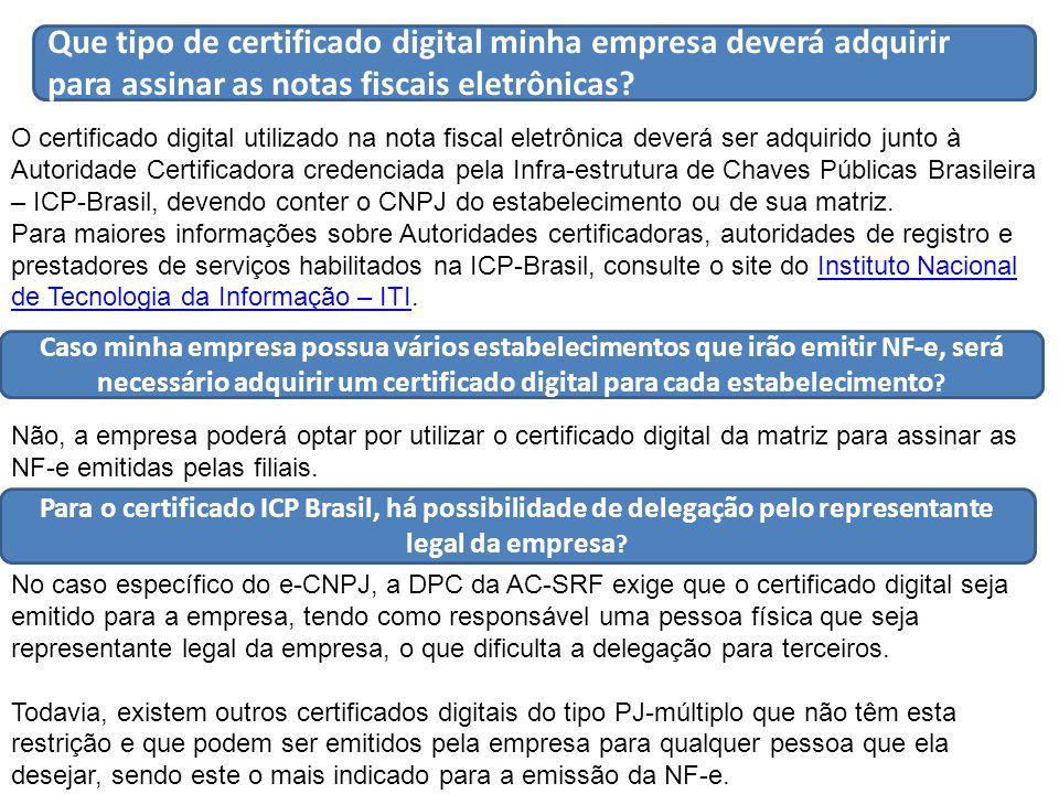 Que tipo de certificado digital minha empresa deverá adquirir para assinar as notas fiscais eletrônicas