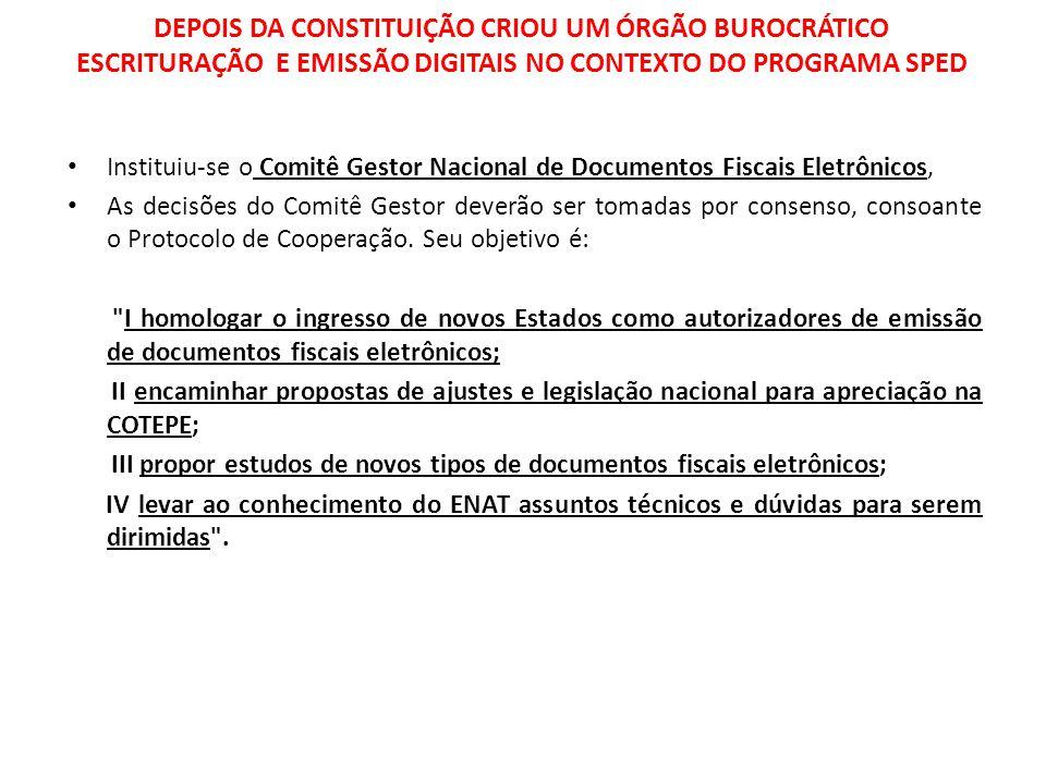 DEPOIS DA CONSTITUIÇÃO CRIOU UM ÓRGÃO BUROCRÁTICO ESCRITURAÇÃO E EMISSÃO DIGITAIS NO CONTEXTO DO PROGRAMA SPED
