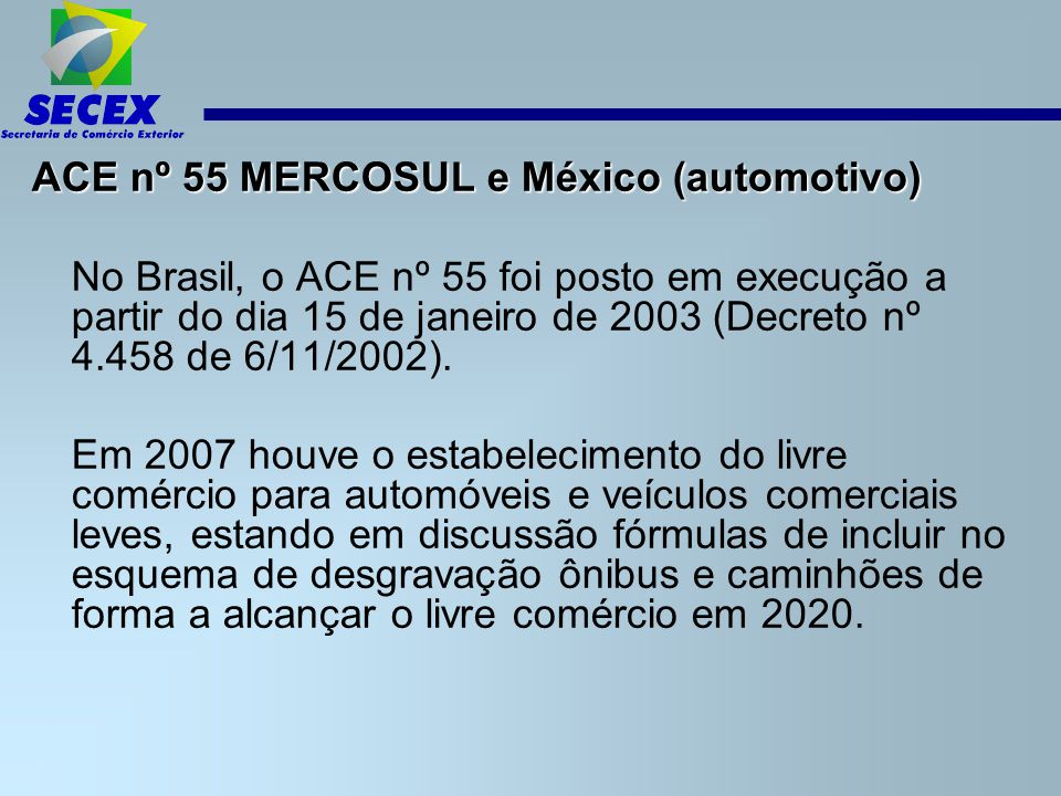 ACE nº 55 MERCOSUL e México (automotivo)