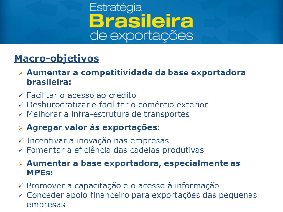 Macro-objetivos Aumentar a competitividade da base exportadora brasileira: Facilitar o acesso ao crédito.