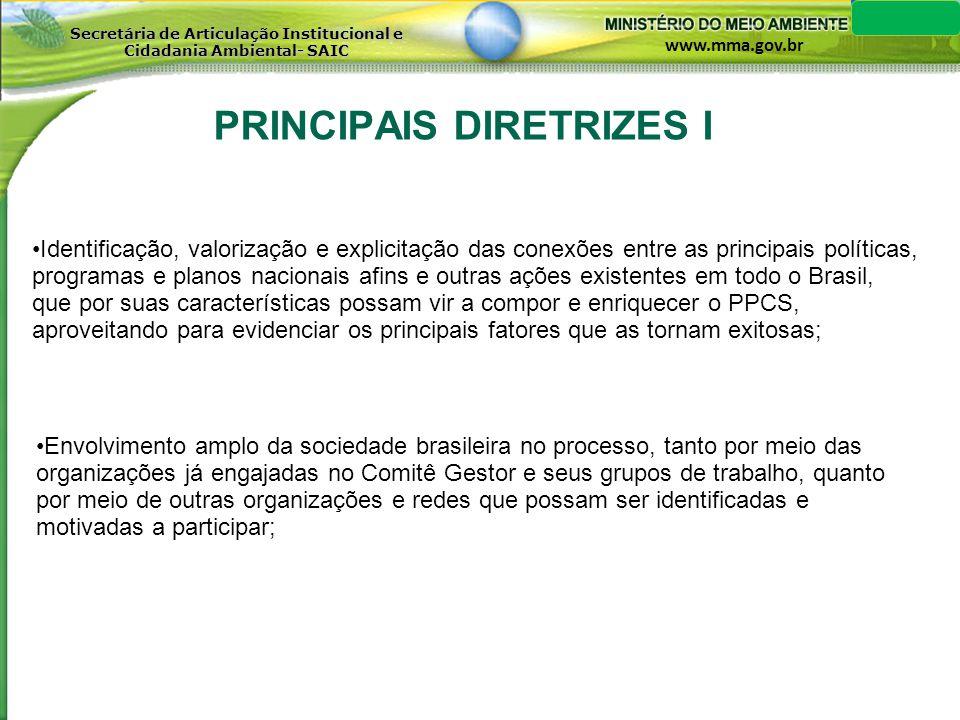 PRINCIPAIS DIRETRIZES I
