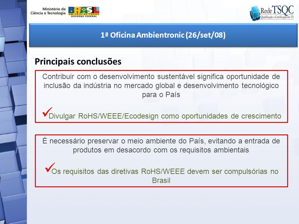 1ª Oficina Ambientronic (26/set/08) Principais conclusões