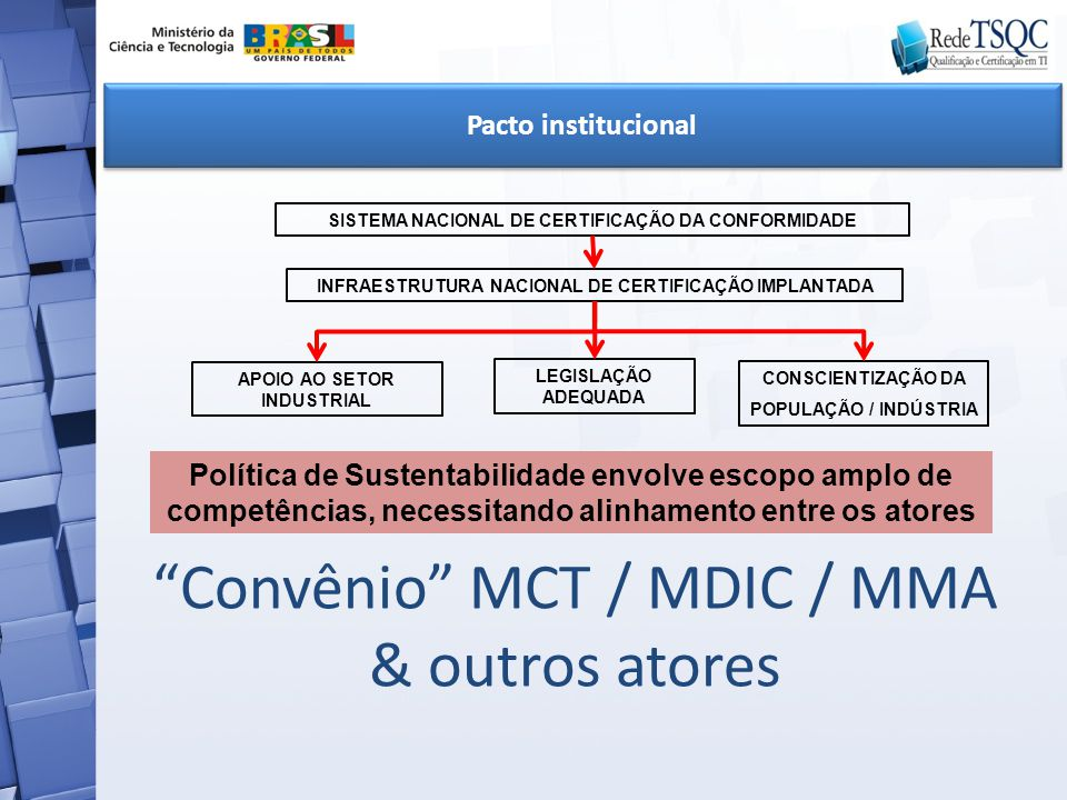 Convênio MCT / MDIC / MMA & outros atores
