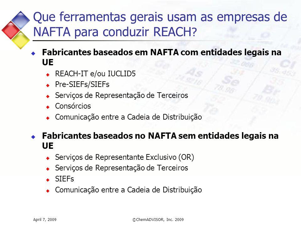 Que ferramentas gerais usam as empresas de NAFTA para conduzir REACH